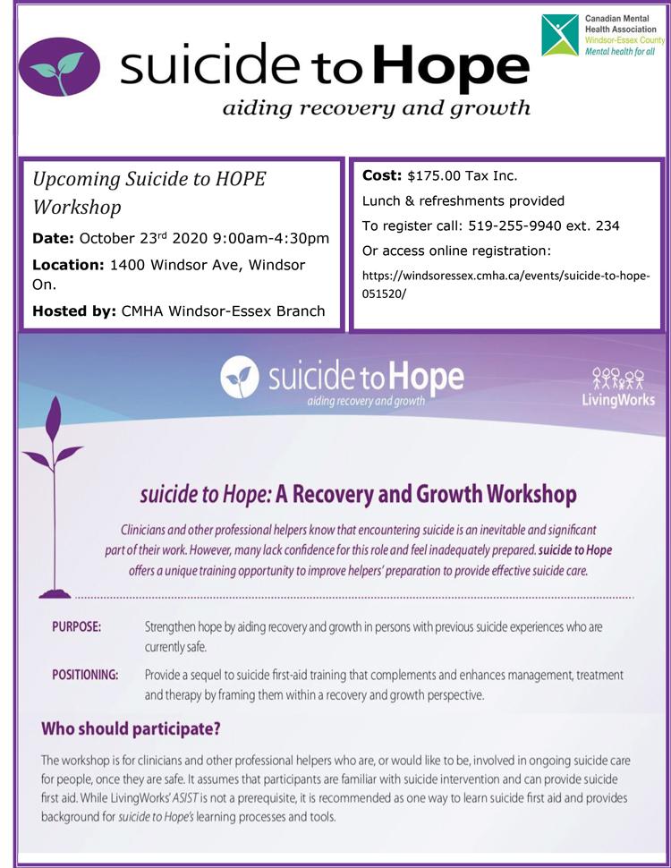 Suicide to Hope workshop